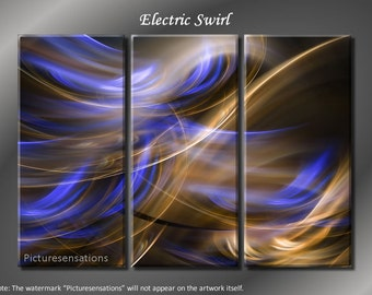 Framed Huge 3 Panel Abstract digital Art Electric Swirl Giclee Canvas Print - Ready to Hang