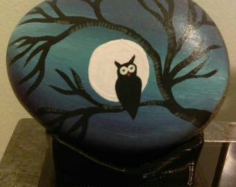 Owl in Moonlit Tree Hand-Painted Rock
