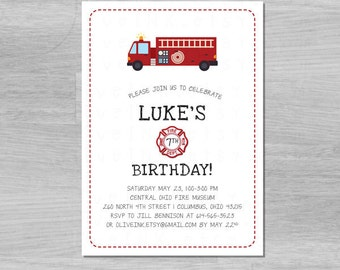 Firetruck birthday invitation (digital / printable file)