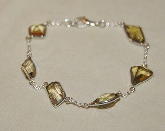 Citrine and Sterling silver bracelet- 8 inches