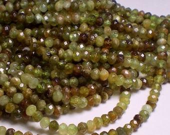 4mm Green Garnet Faceted Rondelle Beads 1/2 Strand