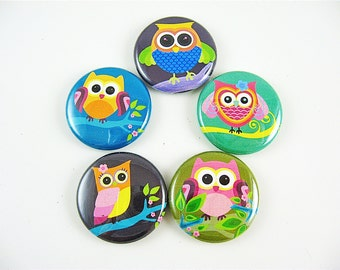 Owl magnets / 5 one inch fridge magnets / use in magnabilities Home & Living - Kitchen - Storage Organization 1126