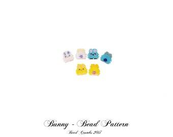 Kawaii Yellow Bunny Charms, Brick Stitch Rabbit Bead PATTERNS