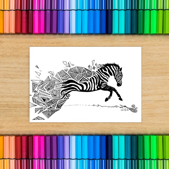 ZEBRA card - Coloring for...