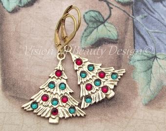 CIJ Shimmering Christmas Tree Earrings, Siam Red, Emerald Green, Holiday Earrings