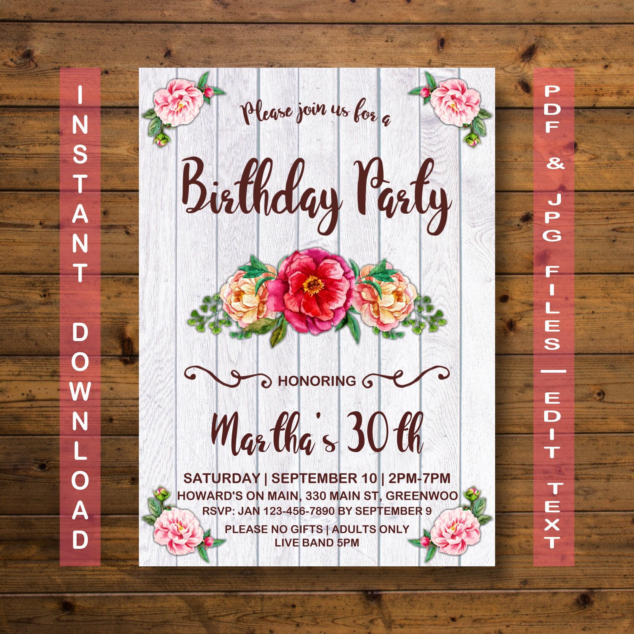 Flower birthday invitation instant download 30th birthday zoom izmirmasajfo