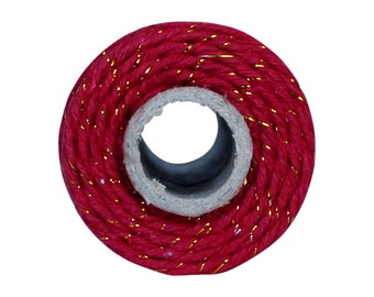 Thick 12 ply Red and Gold Shimmer Bakers Twine -  Red 100 yard twine spool - Gold shimmer twine, Red 100% cotton shimmer Mason jar twine