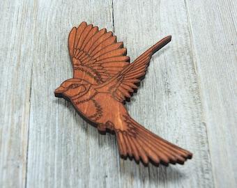 Laser cut Wood Brooch Bird