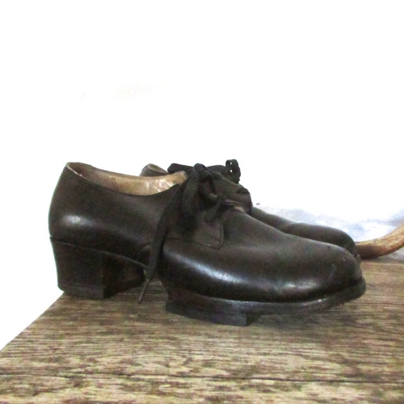 6.5 - black leather outer shell extra high heel height rounded toe lace up preppy vintage 40s 1940s oxfords shoes school girl mary janes fun