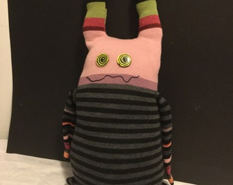 Upcycled sweater Monster Doll stuffie
