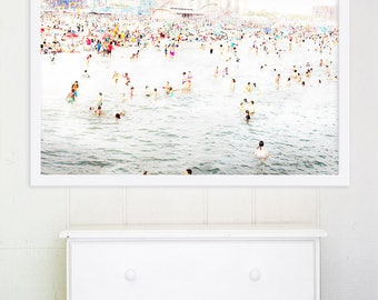 Large Art // Beach Photography // Coney Island Beach Photography // Oversize Art, Big Prints, Beach Prints, Colorful Art - CI Beach Peeps 2