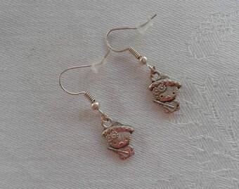 earrings, pendants pussy with his guitar metal silver pierced earrings