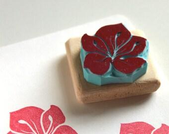 Sakura cherry blossom, flower stamp, hand carved, wood mounted