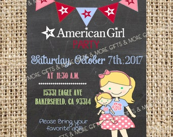 American Girl Blond Hair with Green Eyes***Party PRINTABLE PERSONALIZED INVITATION***