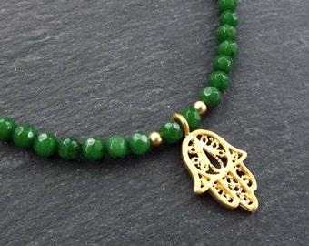 Hamsa Hand of Fatima Layer Necklace Emerald Green Jade Stone Gemstone Hippie Bohemian Artisan - FREE SHIPPING