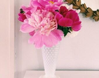 Large Hob Knob Milkglass Vase