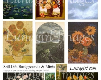 ATC BACKGROUNDS digital collage sheet, flowers waves water mountains, floral vintage images Victorian pictures altered art ephemera DOWNLOAD