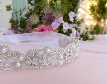 Wedding sash belt, Pearl belt, Pearl bridal belt, jeweled belt, thin wedding belt, Swarovski sash belt, beaded sash belt, crystal sash belt