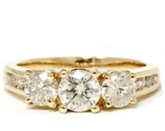2.00CT 3 Stone Round Diamond Engagement Anniversary Past Present Future 14K Gold Ring Size 4-9