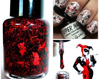 Harley Quinn ~ 15 mL full size bottle - Indie Handmade Nail Polish 5-Free Custom Blended Glitter Lacquer