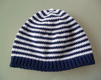 """Baby Cap """"stripes of blue and white"""""""