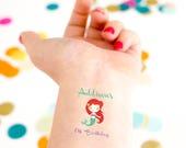 Mermaid Tattoos, Mermaid Birthday Party, Girl Birthday, Kid Birthday Party, Custom Tattoo, Personalized Tattoo, Party Favor, First Birthday