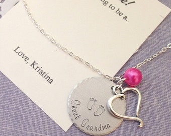 SPRING SALE Great Grandmother, Great Grandma, pregnancy announcement necklace, surprise, handstamped. Comes with FREE personalized notecard.