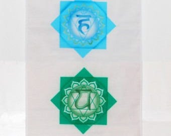 Chakra Art Silkscreened Vertical White Cotton Banner