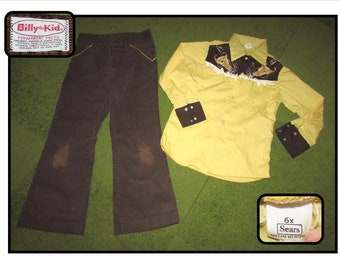 Vintage Child's Billy the Kid Brown Corduroy Jeans & Yellow Brown Sears Western Shirt w/ fringe, Sears, Size 6X, western