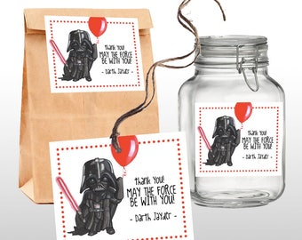 EDITABLE PRINTABLE Star Wars Darth Vader Favor Tags, Thank You Tags, Star Wars Birthday Theme, Instant DOWNLOAD, 1 .pdf files, Dark Side