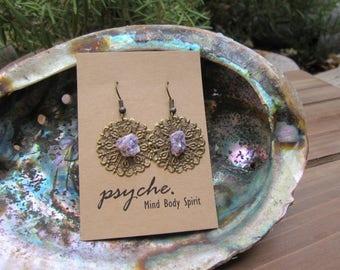 Lepidolite Medallion Earrings