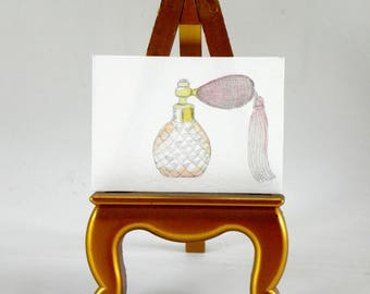ACEO Original   Vintage Perfume Bottle   Fashion   Art Trading Card   Gouache   Illustration   Vanity   Chic