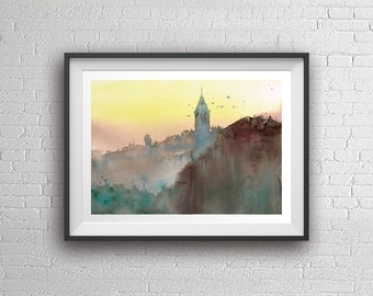 Istanbul Galata Tower watercolor painting art print