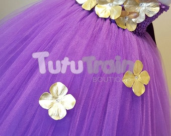 Purple and Gold Flower Girl Tutu Dress, Purple Tutu, Purple and Gold Dress, Birthday Party Outfit, Photo Prop, Flower Girl Dress