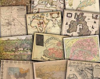Vintage Maps Digital Paper World Europe America Old Maps - Buy vintage maps
