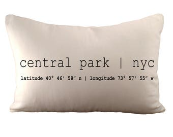 Central Park or Custom Coordinates - Cushion Cover - 12x18 - Choose your fabric and font colour