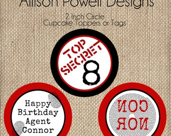 Spy, Top Secret Birthday Party Cupcake Toppers