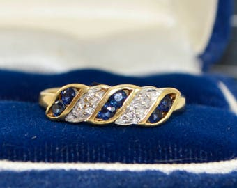 1994 18CT YELLOW GOLD Diamond & Sapphire Geometric Stacking RING - Sz N  (Us 6.75)