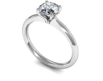 Round Diamond Solitaire Engagement Ring - 18 carat white gold + 0.33 carat round brilliant cut diamond