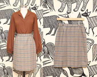 High Waist Plaid Wool Skirt // 80s Brown Pencil Skirt Preppy JH Collectibles Size 6