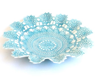 Fine antique ceramic porcelain lace bowl, romantic, home decor, handmade gift, blue and white, jewellery bowl, vintage style