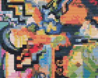 Abstract Cross Stitch Kit, Colored Composition Homage MINI, Counted Cross Stitch, Embroidery Kit, Art Cross Stitch, August Macke