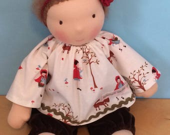 Little Red Riding Hood Doll Clothing Waldorf Doll Top and Velveteen Pants Outfit for 16-inch Waldorf Doll