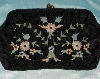 Vintage 1950's Black Beaded / Pastel Flowers Kiss Lock Evening Bag / Clutch Purse