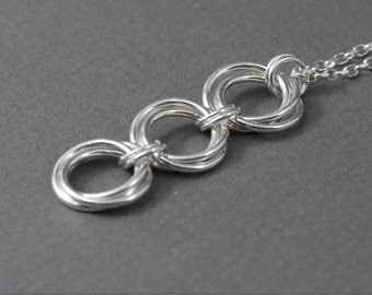 Triple Love Knot Sterling Chainmaille Pendant