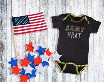 Onesie Army Brat baby bodysuit in Green or Pink Camo
