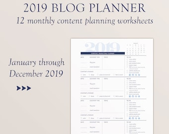 2019 Blog Planner, 12 Month Dated Printable, Content Marketing Planning Worksheet, Content Planner, Blog Planner Printable,
