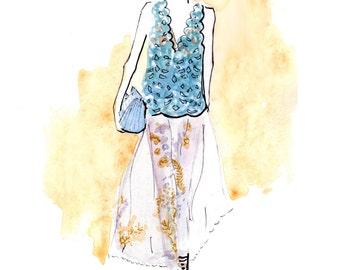 Fendi Spring 2017 4 Art Print Fashion Illustration, Fashion Sketch, Watercolour Illustration, Fashion Art