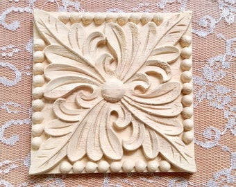 Square wood furniture applique, furniture embellishment, wood onlay, furniture decoration, wood embellishment, wood carving, 2 pcs