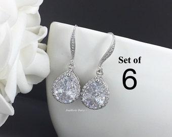 Set of 6 Wedding Earrings Crystal Stud Earrings Bridal Earrings Bridal Jewelry Gift for Her Cubic Zirconia Earrings Maid of Honor Gift